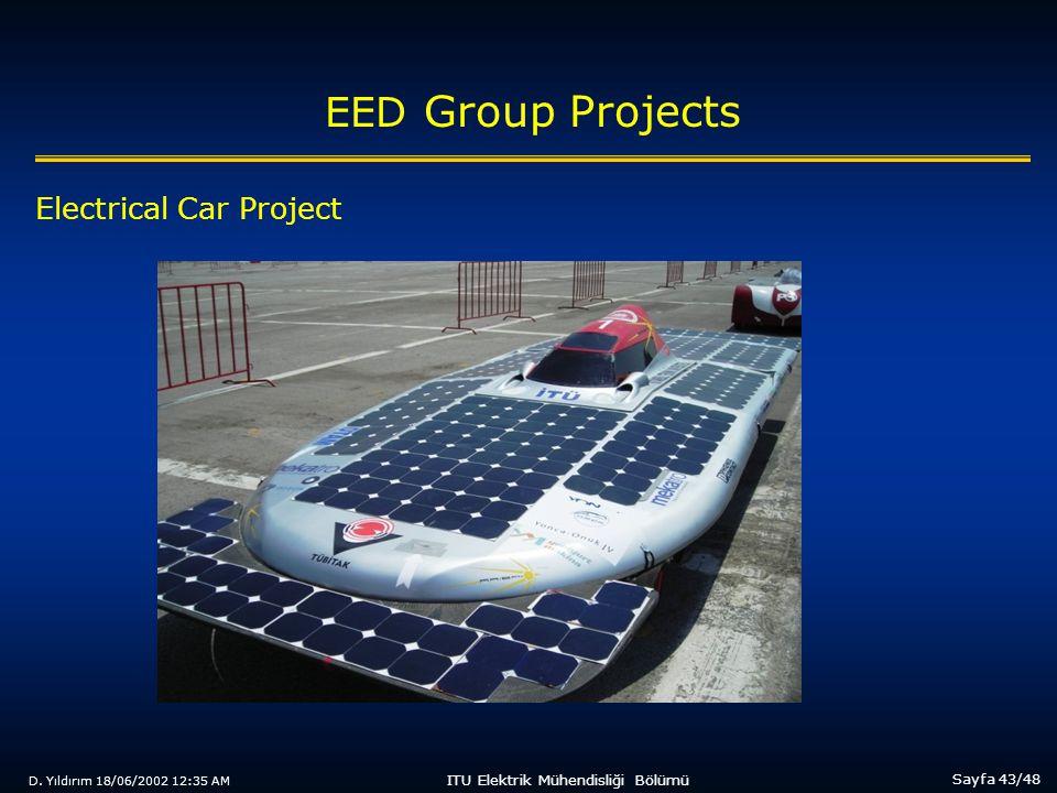 D. Yıldırım 18/06/2002 12:35 AM Sayfa 43/48 ITU Elektrik Mühendisliği Bölümü EED Group Projects Electrical Car Project