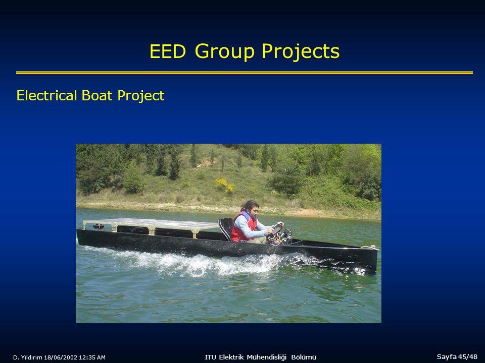 D. Yıldırım 18/06/2002 12:35 AM Sayfa 45/48 ITU Elektrik Mühendisliği Bölümü EED Group Projects Electrical Boat Project