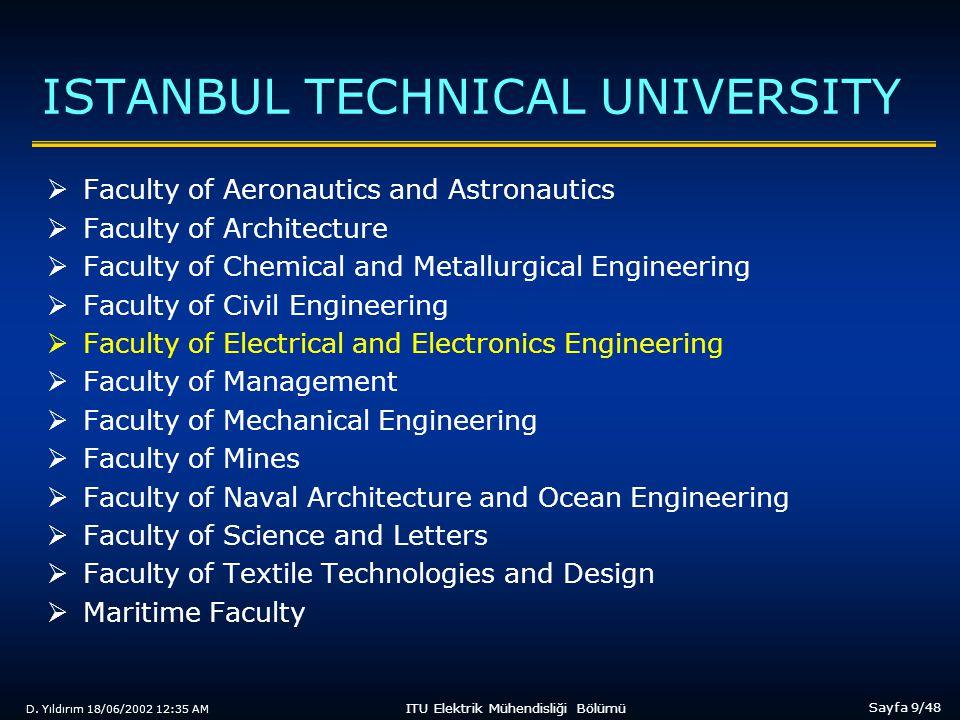 D. Yıldırım 18/06/2002 12:35 AM Sayfa 9/48 ITU Elektrik Mühendisliği Bölümü ISTANBUL TECHNICAL UNIVERSITY  Faculty of Aeronautics and Astronautics 