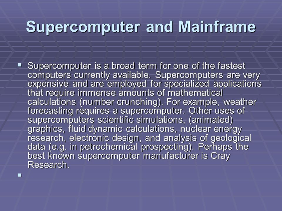 Mainframe  Mainframe was a term originally referring to the cabinet containing the central processor unit or main frame of a room-filling Stone Age batch machine.