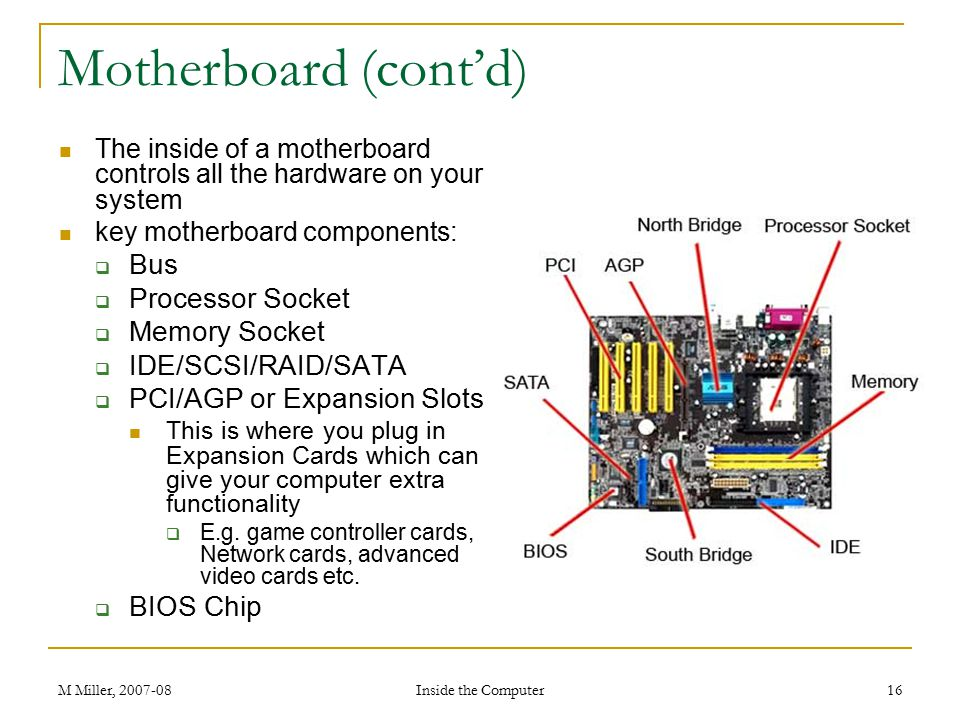M Miller, 2007-08 Inside the Computer 16 Motherboard (cont'd) The inside of a motherboard controls all the hardware on your system key motherboard components:  Bus  Processor Socket  Memory Socket  IDE/SCSI/RAID/SATA  PCI/AGP or Expansion Slots This is where you plug in Expansion Cards which can give your computer extra functionality  E.g.