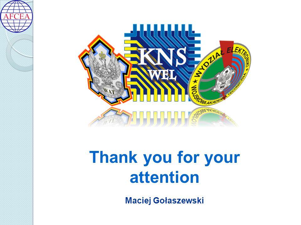 Maciej Gołaszewski Thank you for your attention