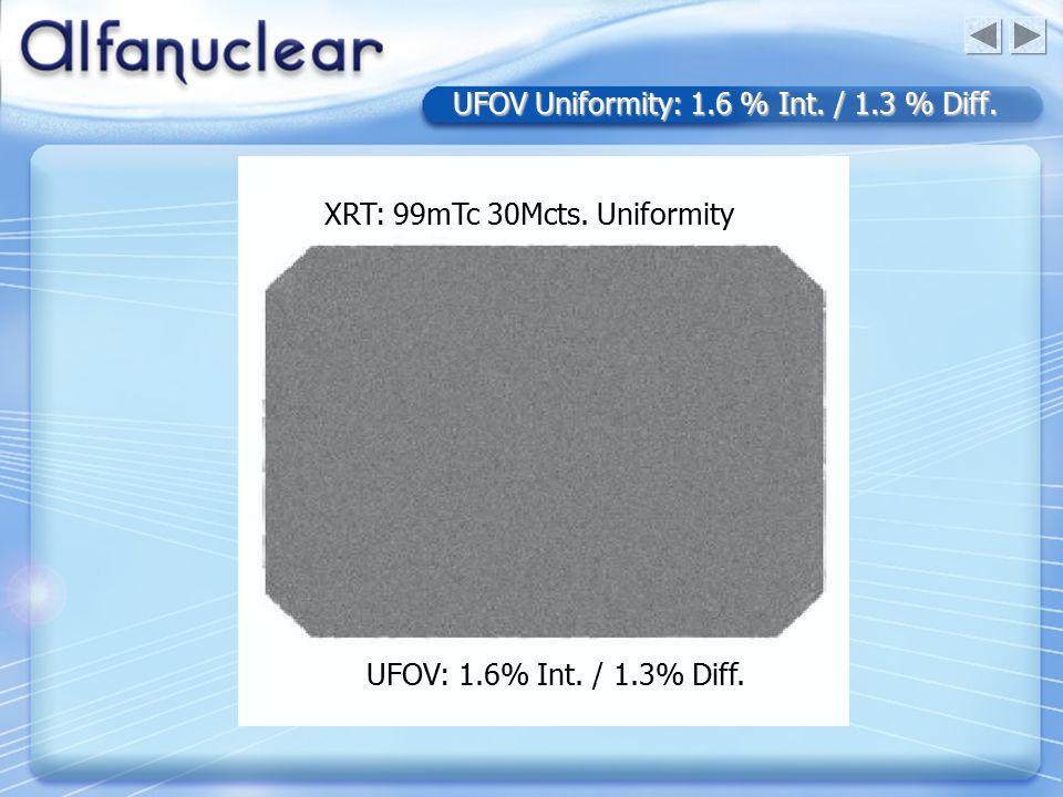 UFOV Uniformity: 1.6 % Int. / 1.3 % Diff. UFOV: 1.6% Int.