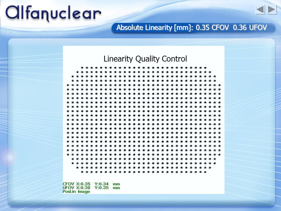 Absolute Linearity [mm]: 0.35 CFOV 0.36 UFOV Linearity Quality Control