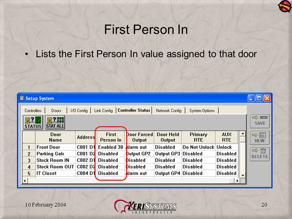 10 February 200420 First Person In Lists the First Person In value assigned to that door