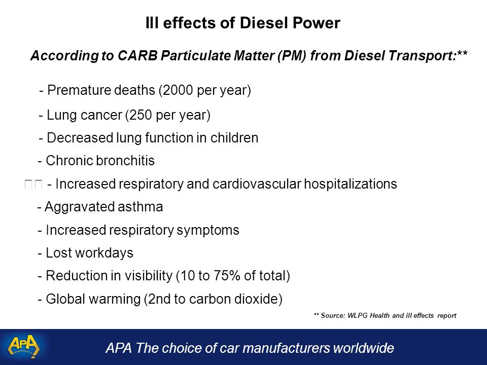 APA The choice of car manufacturers worldwide Ill effects of Diesel Power According to CARB Particulate Matter (PM) from Diesel Transport:** - Premature deaths (2000 per year) - Lung cancer (250 per year) - Decreased lung function in children - Chronic bronchitis - Increased respiratory and cardiovascular hospitalizations - Aggravated asthma - Increased respiratory symptoms - Lost workdays - Reduction in visibility (10 to 75% of total) - Global warming (2nd to carbon dioxide) ** Source: WLPG Health and ill effects report