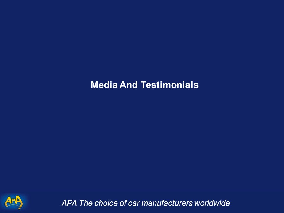 APA The choice of car manufacturers worldwide Media And Testimonials