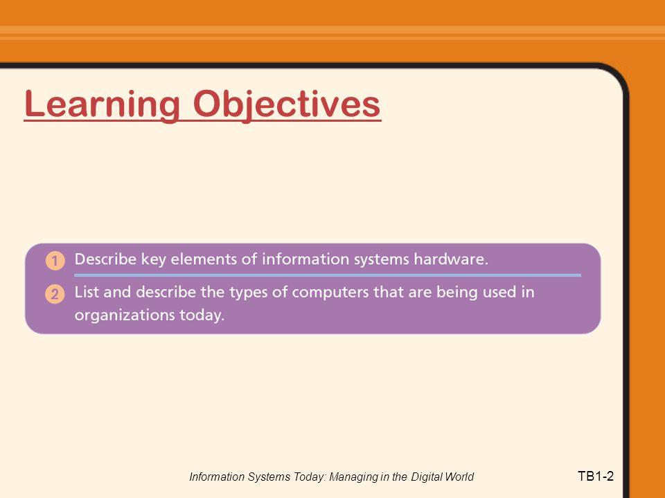 Information Systems Today: Managing in the Digital World TB1-2 Learning Objectives