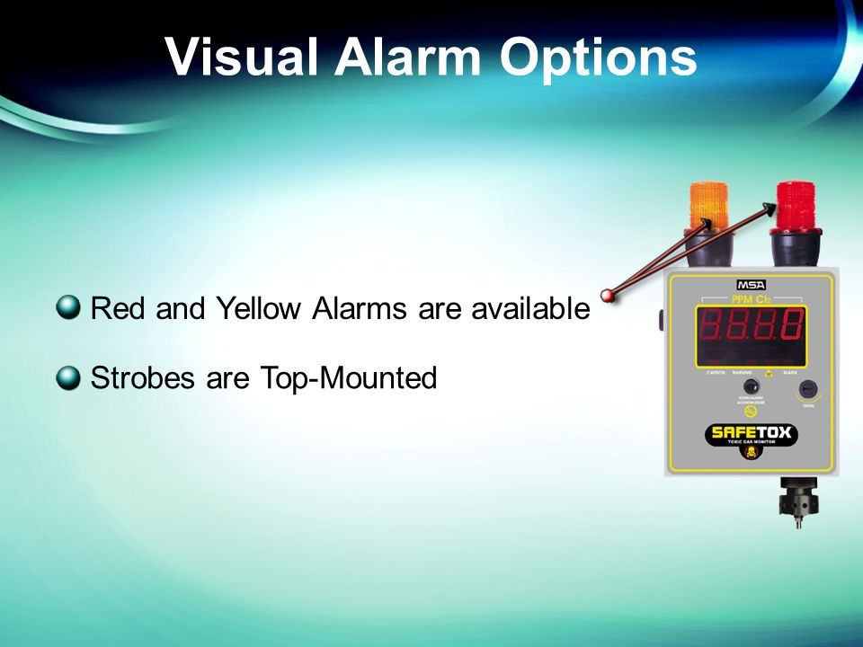 Plus Bottom Mount Sensor 85 db Federal Alarm Horn Diffusion Sampling NEMA 4X Metal Enclosure Two top-mounted strobes (Yellow and Red) are activated from the Warning and Alarm Levels