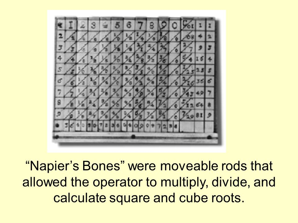 Napier's Bones were moveable rods that allowed the operator to multiply, divide, and calculate square and cube roots.