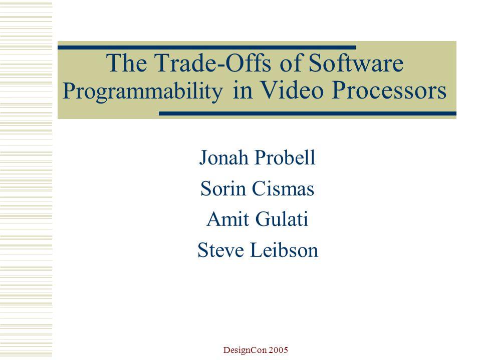DesignCon 2005 Jonah Probell  Digital video & microprocessor designer  Entrepreneur  Intellectual property developer http://jonahprobell.com