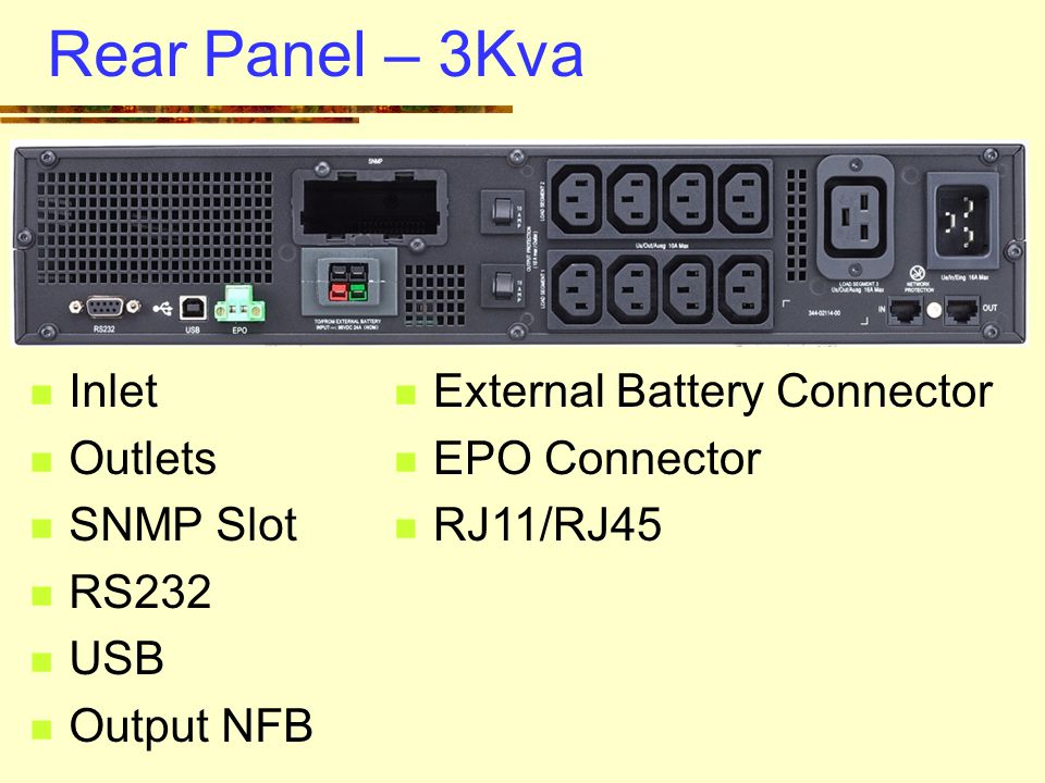 Rear Panel – 3Kva Inlet Outlets SNMP Slot RS232 USB Output NFB External Battery Connector EPO Connector RJ11/RJ45