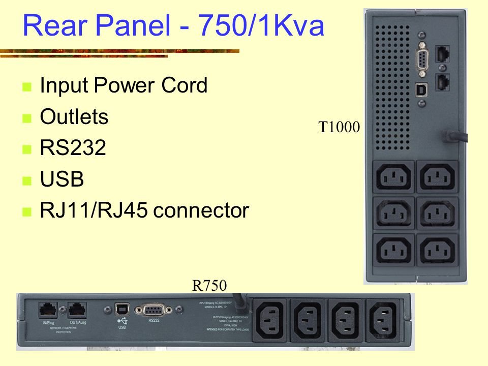 Rear Panel - 750/1Kva Input Power Cord Outlets RS232 USB RJ11/RJ45 connector R750 T1000