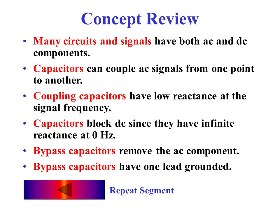Concept Review Repeat Segment Many circuits and signals have both ac and dc components.