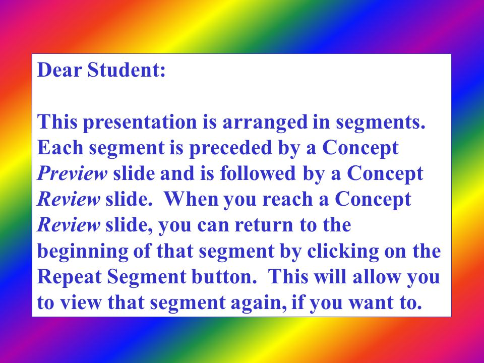 Dear Student: This presentation is arranged in segments.