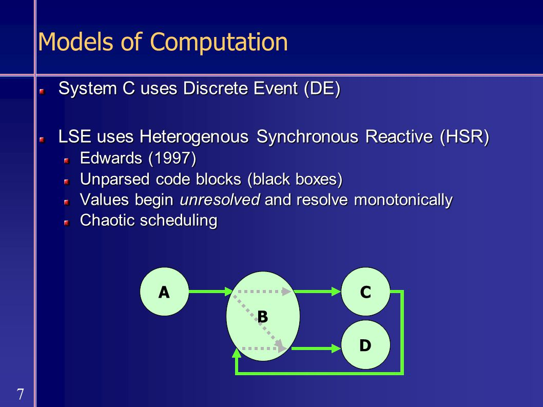7 AC D B AC D B AC D B AC D B AC D B AC D B AC D B Models of Computation System C uses Discrete Event (DE) LSE uses Heterogenous Synchronous Reactive (HSR) Edwards (1997) Unparsed code blocks (black boxes) Values begin unresolved and resolve monotonically Chaotic scheduling