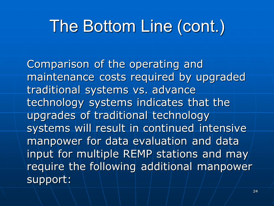 24 The Bottom Line (cont.) Comparison of the operating and maintenance costs required by upgraded traditional systems vs. advance technology systems i