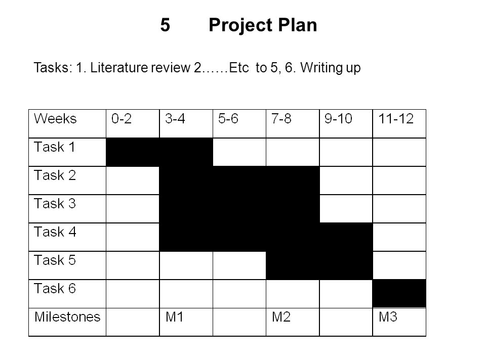 5Project Plan Tasks: 1. Literature review 2……Etc to 5, 6. Writing up