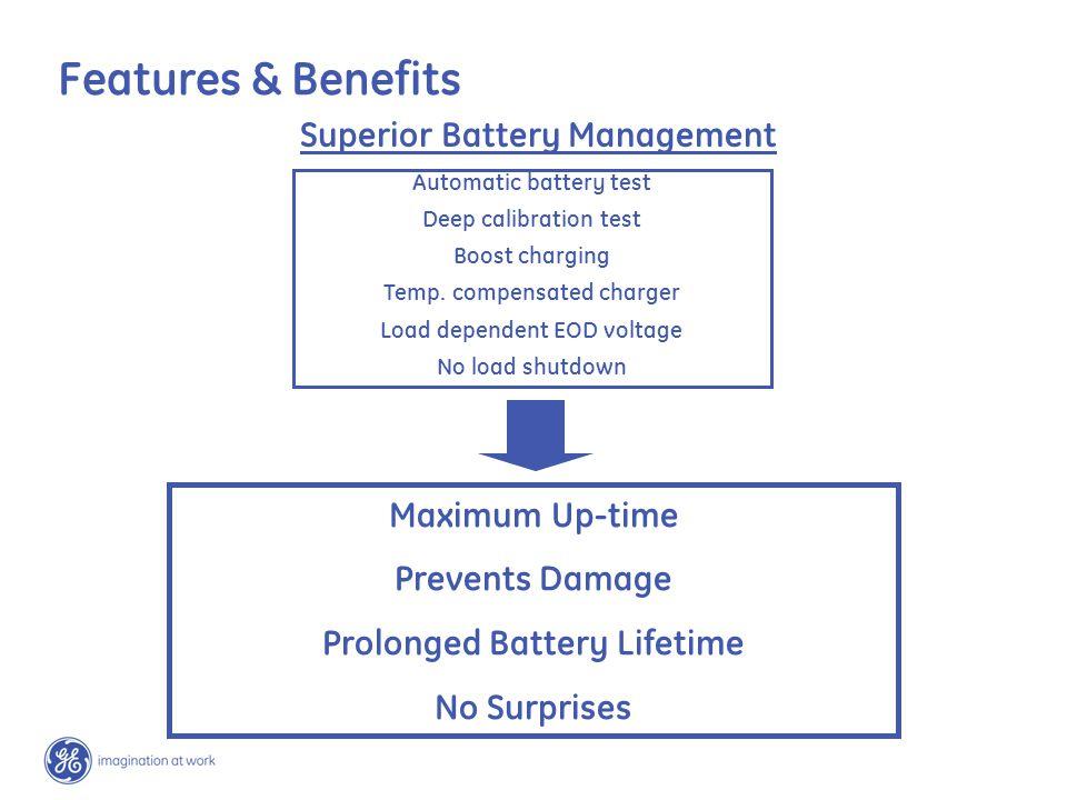 Superior Battery Management Maximum Up-time Prevents Damage Prolonged Battery Lifetime No Surprises Automatic battery test Deep calibration test Boost charging Temp.