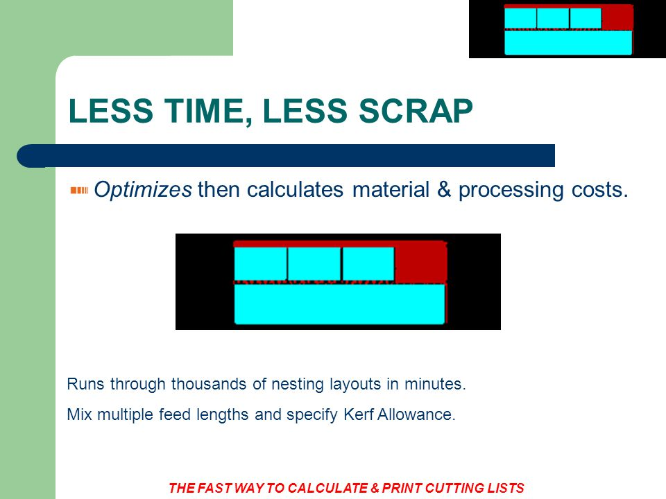 THE FAST WAY TO CALCULATE & PRINT CUTTING LISTS LESS TIME, LESS SCRAP Optimizes then calculates material & processing costs.