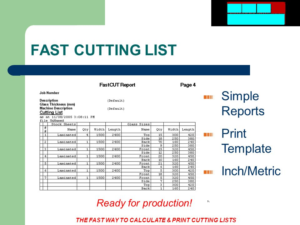 THE FAST WAY TO CALCULATE & PRINT CUTTING LISTS FAST CUTTING LIST Simple Reports Print Template Inch/Metric Ready for production!