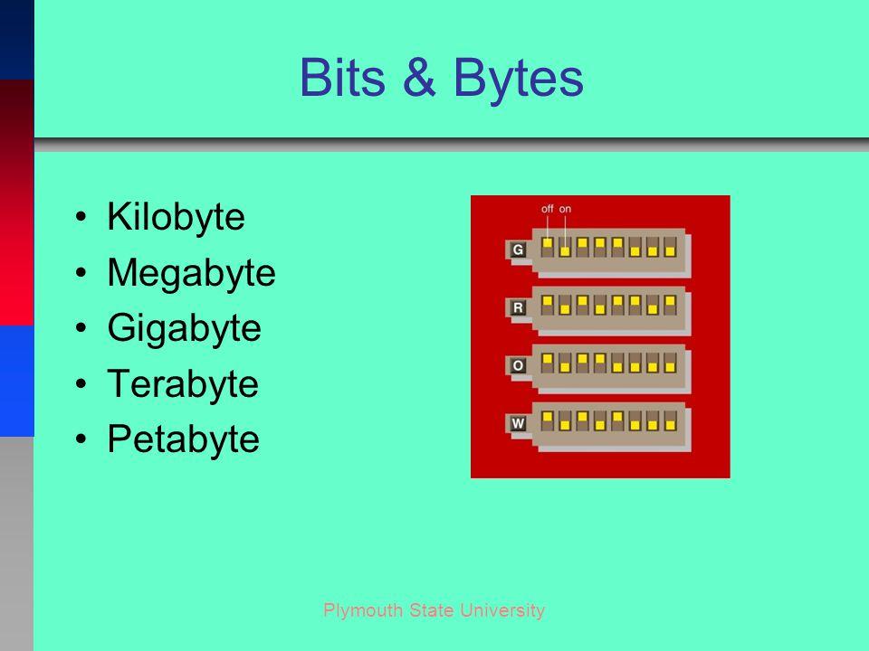 Plymouth State University Bits & Bytes Kilobyte Megabyte Gigabyte Terabyte Petabyte