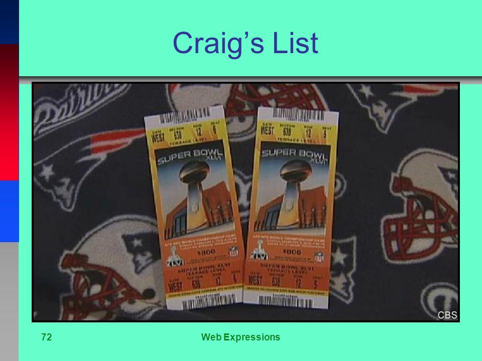 Craig's List 72Web Expressions