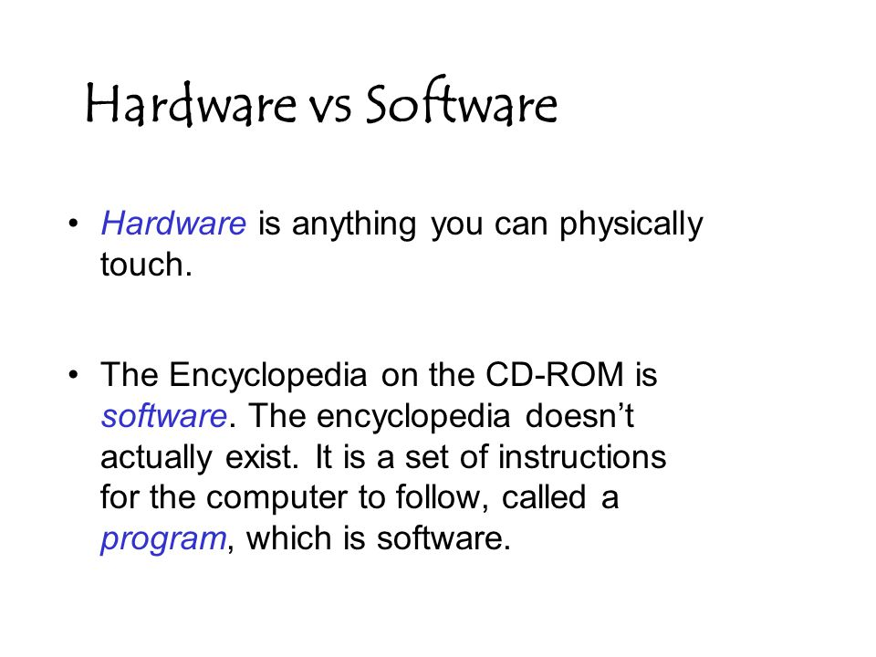 Hardware is anything you can physically touch. The Encyclopedia on the CD-ROM is software.