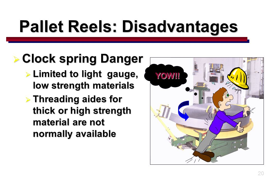 20  Clock spring Danger  Limited to light gauge, low strength materials  Threading aides for thick or high strength material are not normally available YOW!.