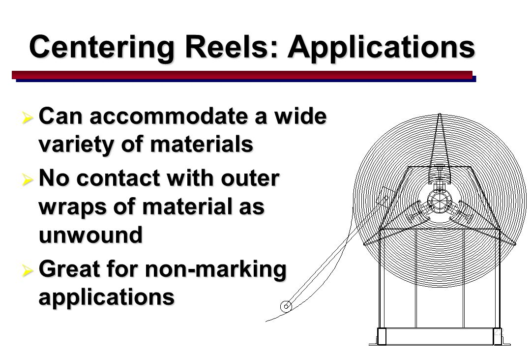 22 Centering Reels: Applications  Can accommodate a wide variety of materials  No contact with outer wraps of material as unwound  Great for non-marking applications