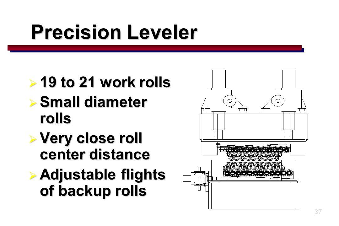 37  19 to 21 work rolls  Small diameter rolls  Very close roll center distance  Adjustable flights of backup rolls Precision Leveler