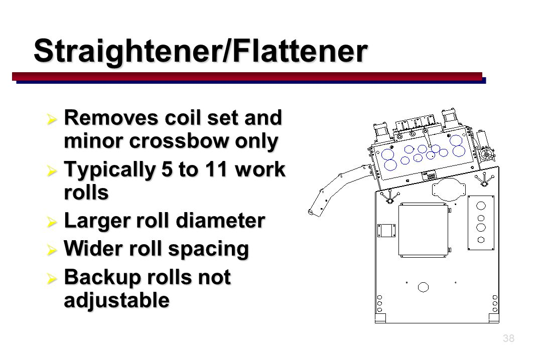38  Removes coil set and minor crossbow only  Typically 5 to 11 work rolls  Larger roll diameter  Wider roll spacing  Backup rolls not adjustable Straightener/Flattener