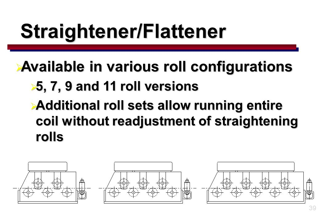 39  Available in various roll configurations  5, 7, 9 and 11 roll versions  Additional roll sets allow running entire coil without readjustment of straightening rolls Straightener/Flattener