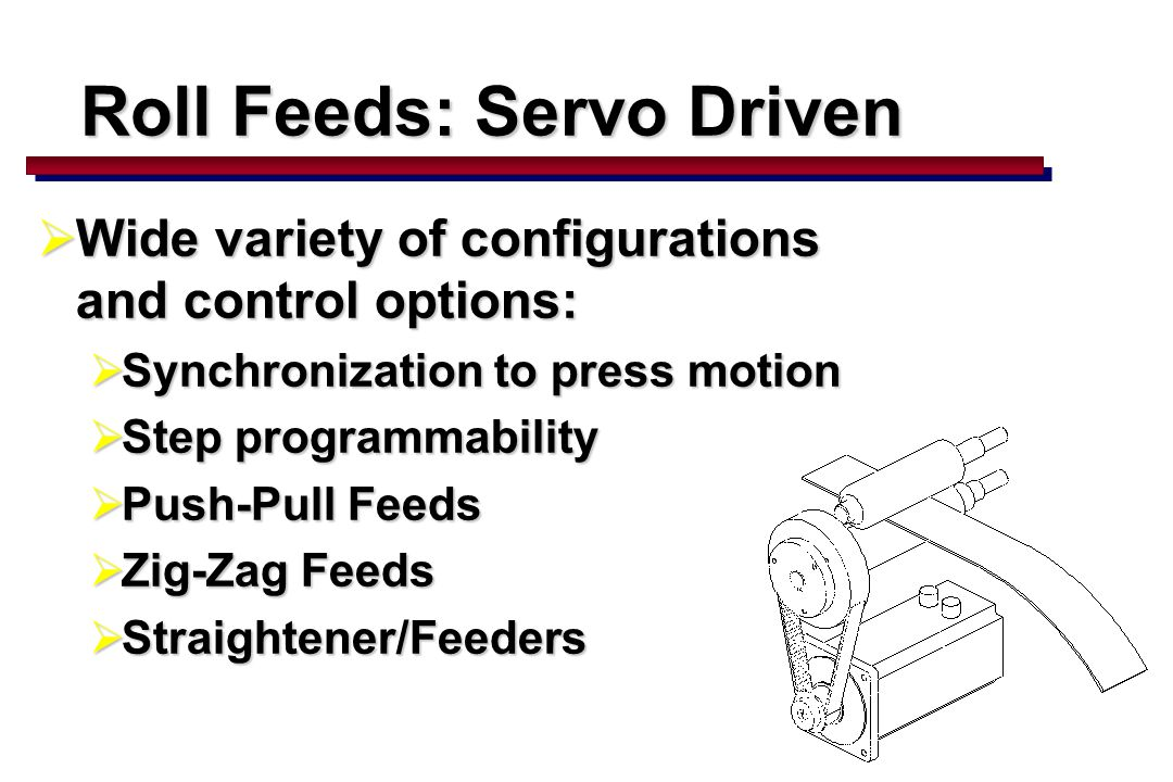 62  Wide variety of configurations and control options:  Synchronization to press motion  Step programmability  Push-Pull Feeds  Zig-Zag Feeds  Straightener/Feeders Roll Feeds: Servo Driven