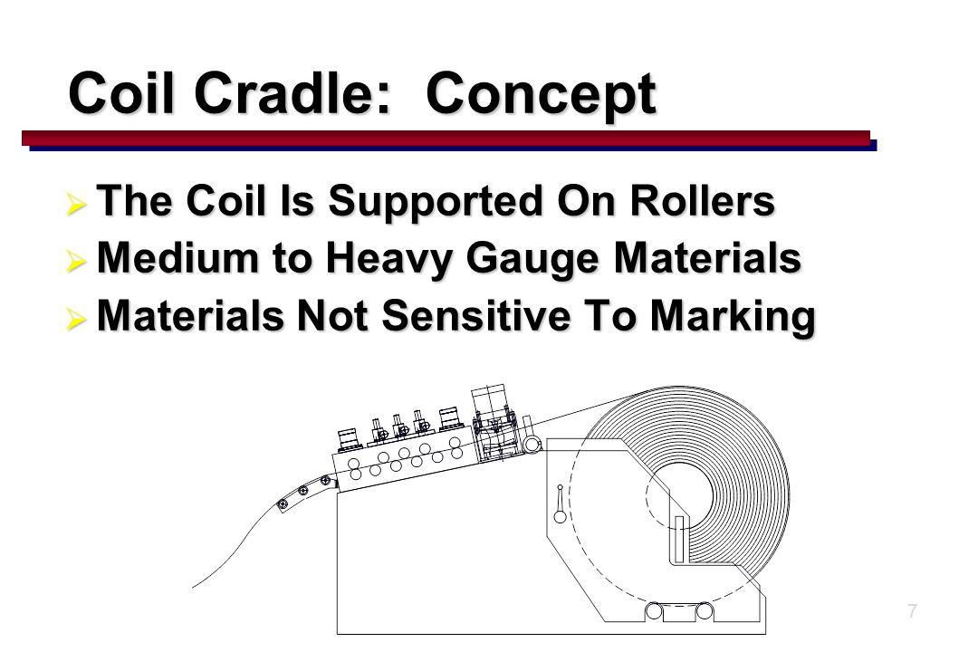 7 Coil Cradle: Concept  The Coil Is Supported On Rollers  Medium to Heavy Gauge Materials  Materials Not Sensitive To Marking