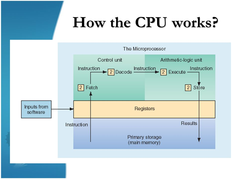 Primary Storage Registers: registers are part of the CPU with the least capacity, storing extremely limited amounts of instructions and data only immediately before and after processing.