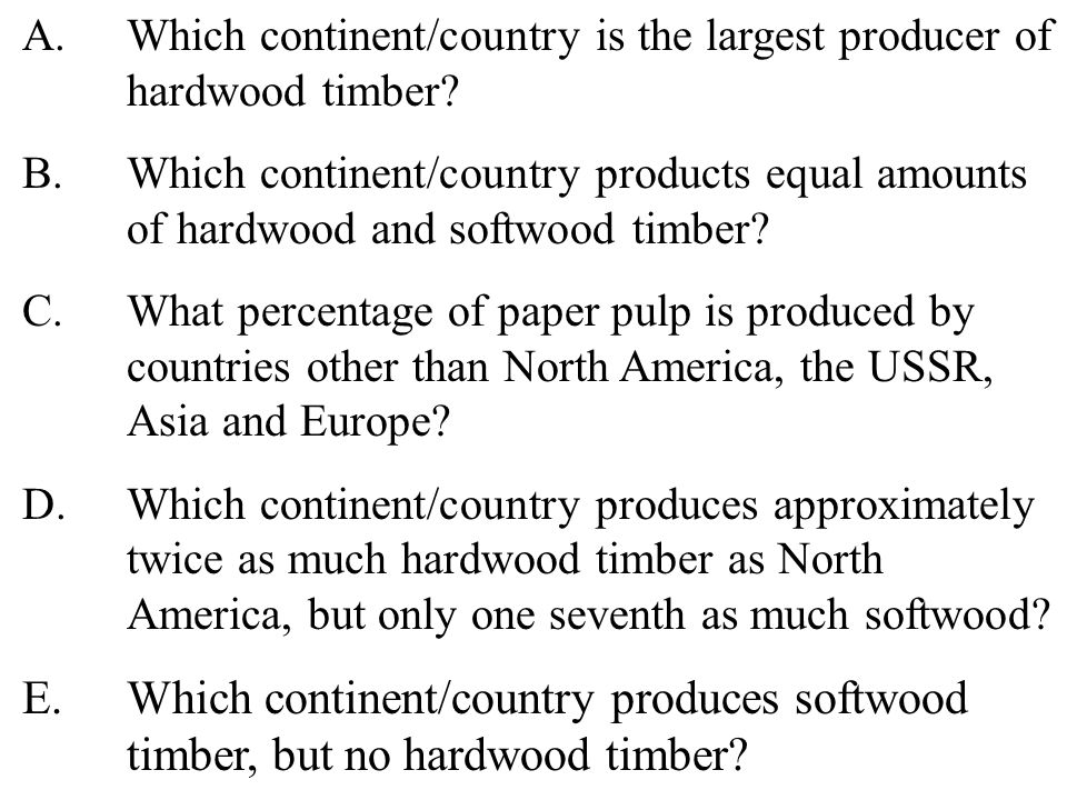 37 A.Which continent/country is the largest producer of hardwood timber.