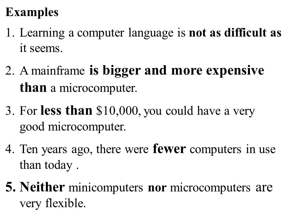 59 Examples 1.Learning a computer language is not as difficult as it seems.