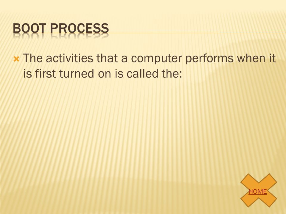  The part of a computer system in which the program instructions are performed is: HOME