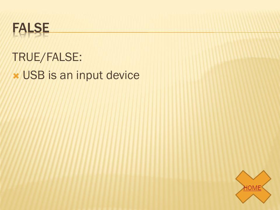 TRUE/FALSE:  USB is an input device HOME