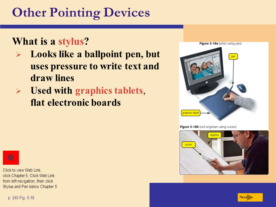 Other Pointing Devices What is a stylus. p. 240 Fig.