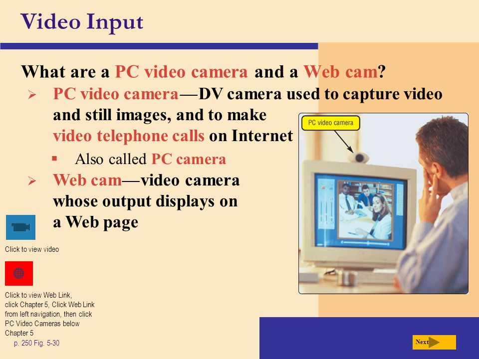 Video Input What are a PC video camera and a Web cam.