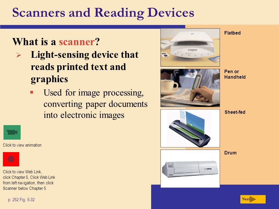 Scanners and Reading Devices What is a scanner. p.
