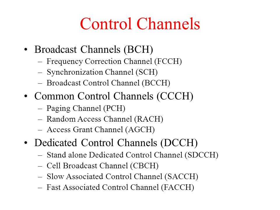 Control Channels Broadcast Channels (BCH) –Frequency Correction Channel (FCCH) –Synchronization Channel (SCH) –Broadcast Control Channel (BCCH) Common Control Channels (CCCH) –Paging Channel (PCH) –Random Access Channel (RACH) –Access Grant Channel (AGCH) Dedicated Control Channels (DCCH) –Stand alone Dedicated Control Channel (SDCCH) –Cell Broadcast Channel (CBCH) –Slow Associated Control Channel (SACCH) –Fast Associated Control Channel (FACCH)