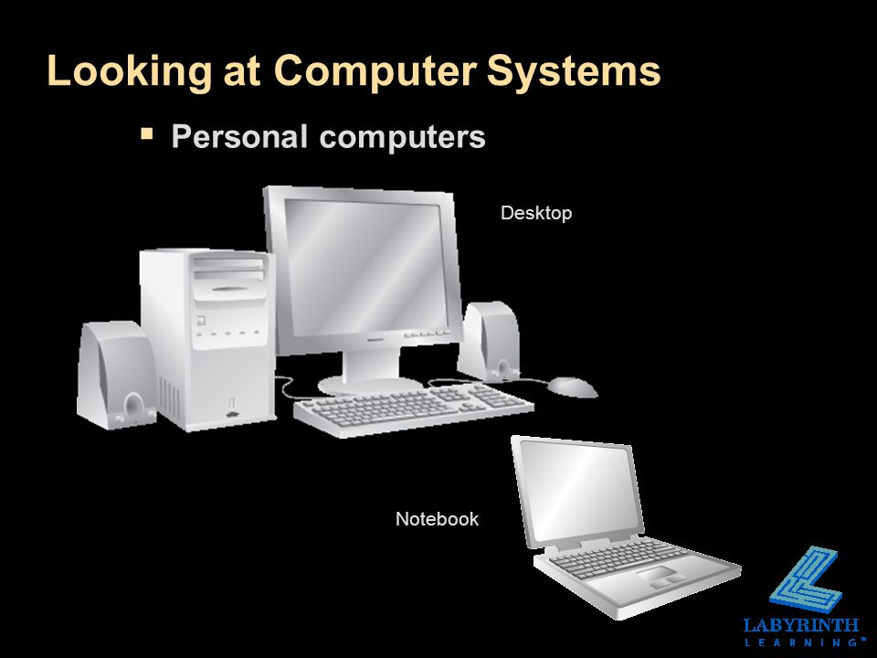 Looking at Computer Systems  Personal computers Desktop Notebook