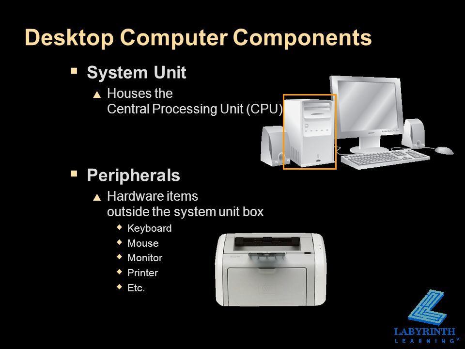 Desktop Computer Components  System Unit  Houses the Central Processing Unit (CPU)  Peripherals  Hardware items outside the system unit box  Keyboard  Mouse  Monitor  Printer  Etc.