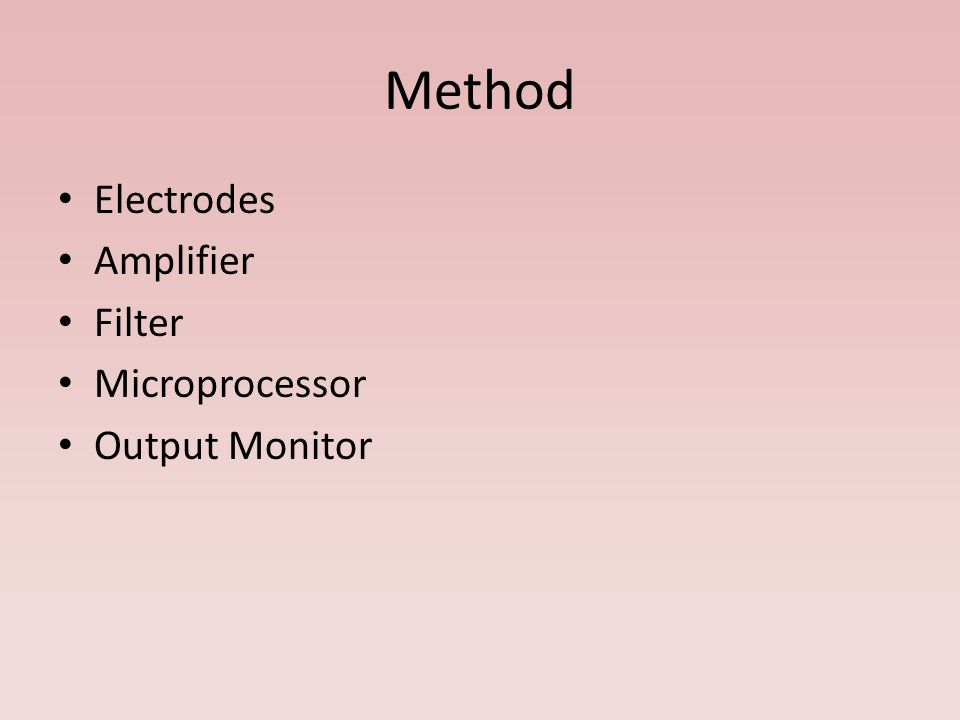 Method Electrodes Amplifier Filter Microprocessor Output Monitor