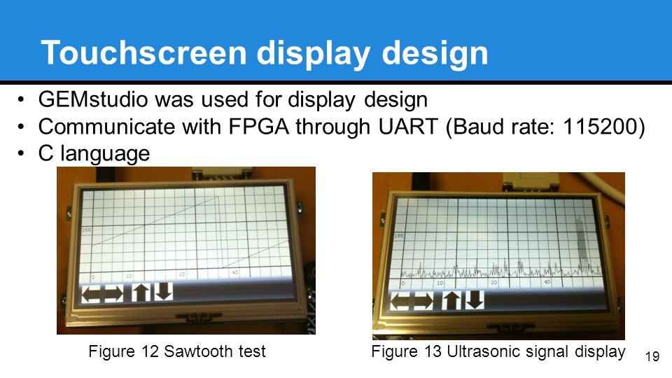 19 Touchscreen display design Figure 12 Sawtooth testFigure 13 Ultrasonic signal display GEMstudio was used for display design Communicate with FPGA through UART (Baud rate: 115200) C language