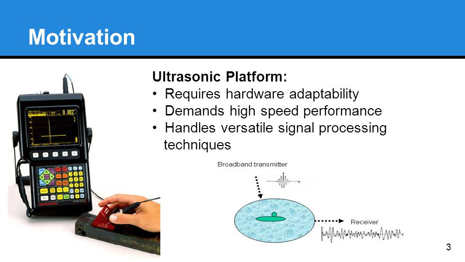 Motivation 3 Ultrasonic Platform: Requires hardware adaptability Demands high speed performance Handles versatile signal processing techniques