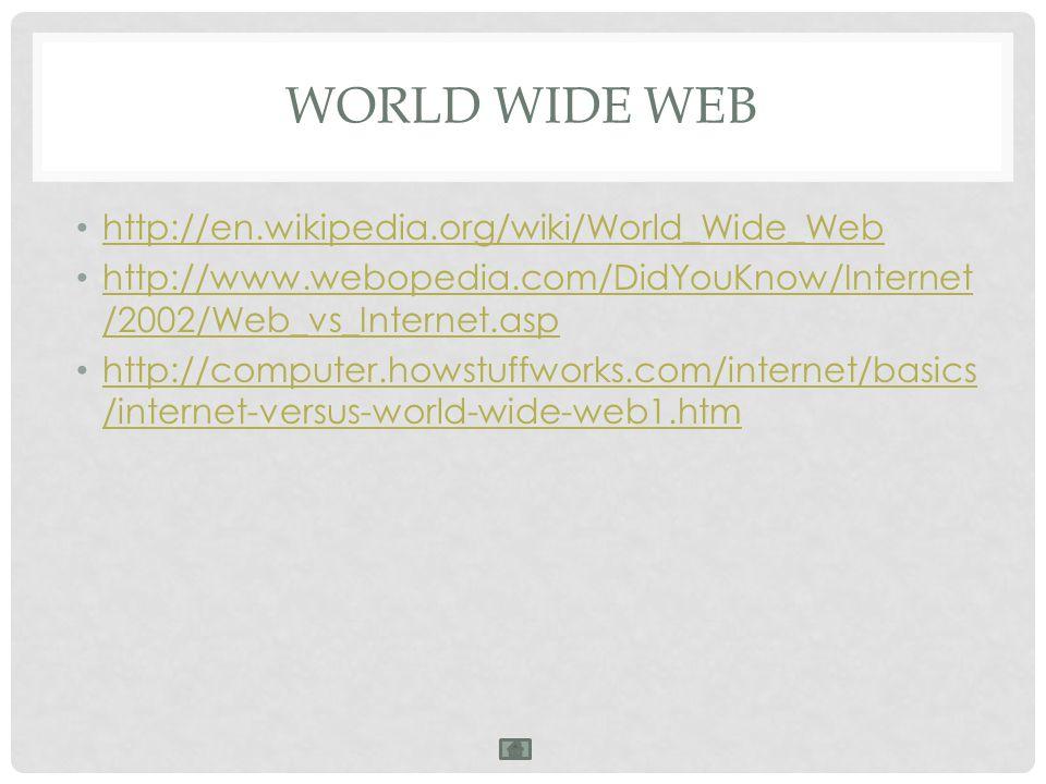 WORLD WIDE WEB http://en.wikipedia.org/wiki/World_Wide_Web http://www.webopedia.com/DidYouKnow/Internet /2002/Web_vs_Internet.asp http://www.webopedia